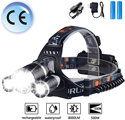 5000LM LED Linterna Frontal Head Lámpara Luz Cabeza faro Impermeable ES