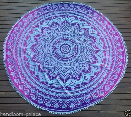 indian-ombre-mandala-pom-pom-round-tapestry-wall-hanging-mandala-beach-decor-throw-tapestry-roundie-