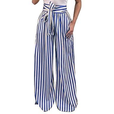 a714e013c05d77 UFACE Striped Print Strap Hose mit weitem Bein Hose Damen Striped High Waist  Harem Pants (