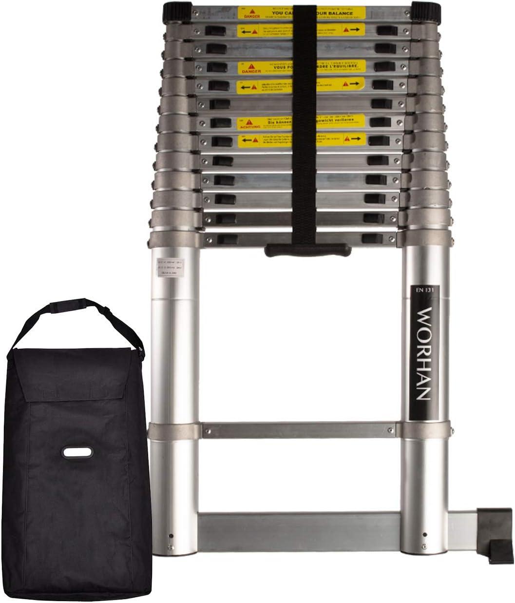 WORHAN® 4.4m Escalera Telescopica 440cm PRO Multiuso Multifuncional CON ANILLOS DE ALUMINIO y Estabilizador Aluminio Anodizado Normativa EN131 1AK4.4+bag: Amazon.es: Bricolaje y herramientas