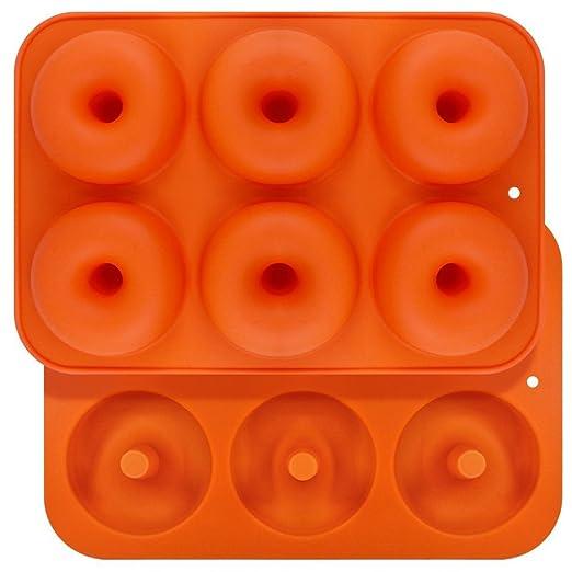 Queta Moldes de silicona para donut, 6 cavidades, antiadherente ...