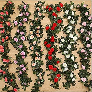 FYYDNZA 11Pcs 240Cm Silk Tea Roses Roses Ivy With Fake Green Leaves Home Decoration Wedding Diy Garland Pendant Artificial Flowers 2
