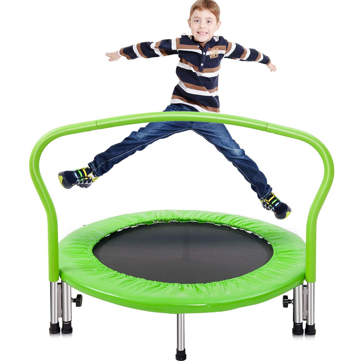 Merax 36'' Kid's Mini Exercise Trampoline Portable Trampoline Toddler Trampoline with Handrail (Green.Pad)