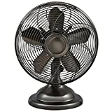 Optimus F-6212 Oscillating Antique Table Fan, 12-Inch, Antique Silver