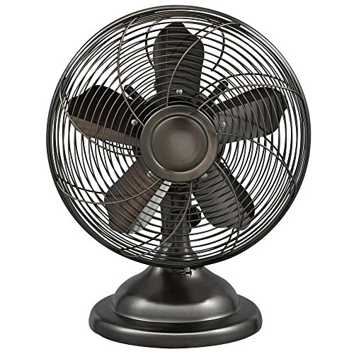 Optimus F-6212 Oscillating Antique Table Fan, 12-Inch, Antique Silver ()