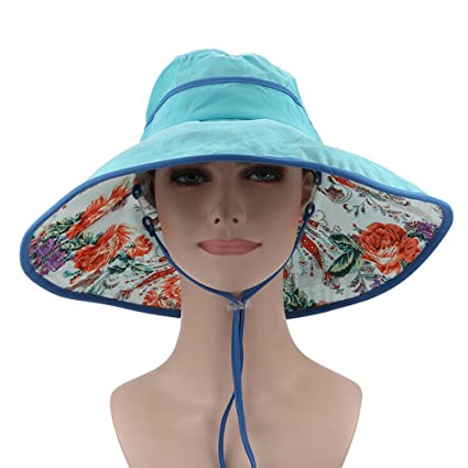 9806bfdee04 ezyoutdoor Women Outdoor Floral Quick-Dry Sunscreen Fishing Hat Hunting Boonie  Cap with Chin Cord for Fishing Hunting Camping Swimming Hiking