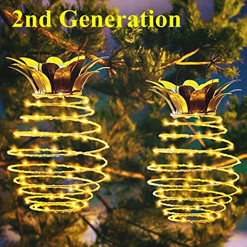 2Pack Pineapple Garden Solar Lights, MZD8391 Upgraded Waterproof 30 LED Solar Lantern, Warm White Fairy String Light, Night Light for Patio Yard Outdoor Home Decoration Decor by MZD8391