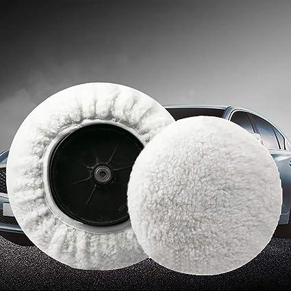 YUSHHO56T Polishing Pad Car Cleaning and Maintenance Polisher Pad 2 Pcs Cashmere Polishing Bonnet Buffer Microfiber Car Paint Wax Polisher Cover White 5-6 inch