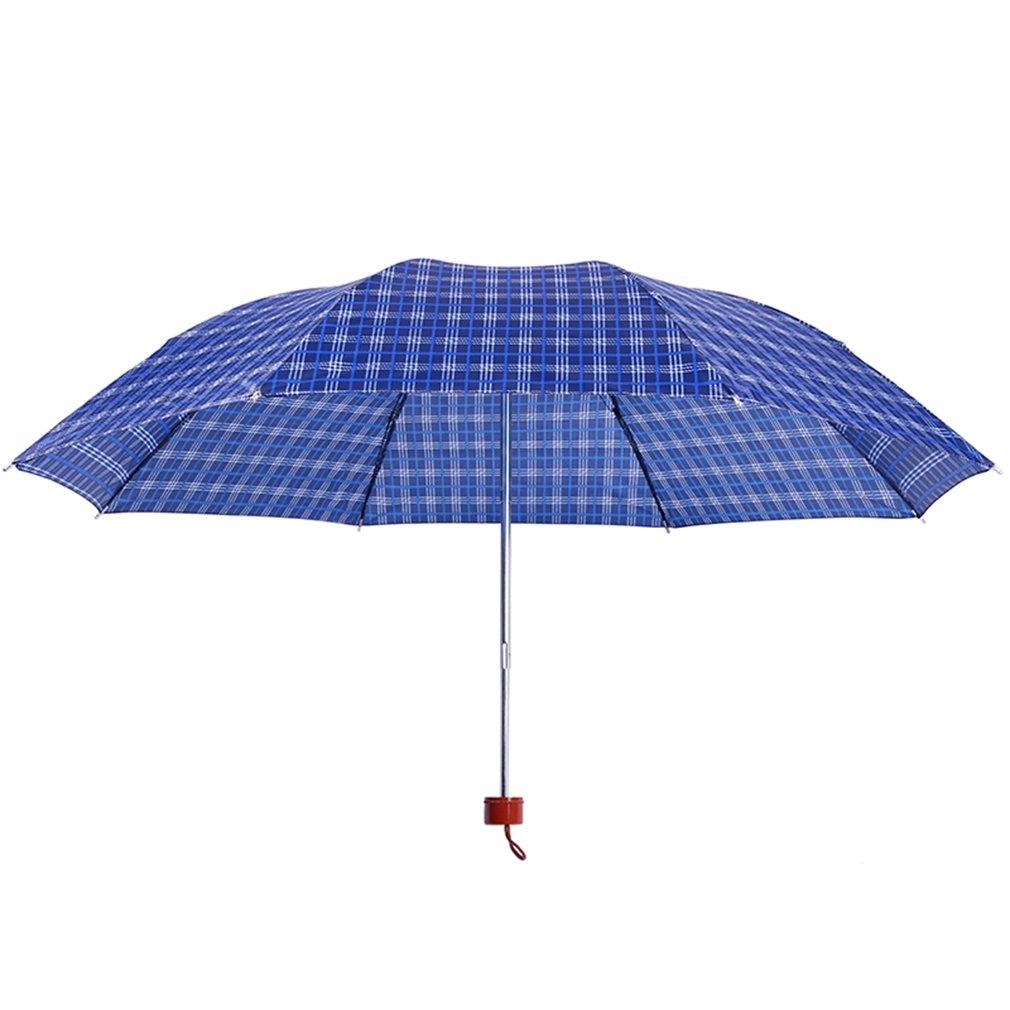 Paraguas Plegable Plaid Paraguas Hombres y Mujeres Tres Lluvia Plegable Estudiantes de Doble Uso Protector Solar Viento sombrilla Paraguas Regalo al por ...