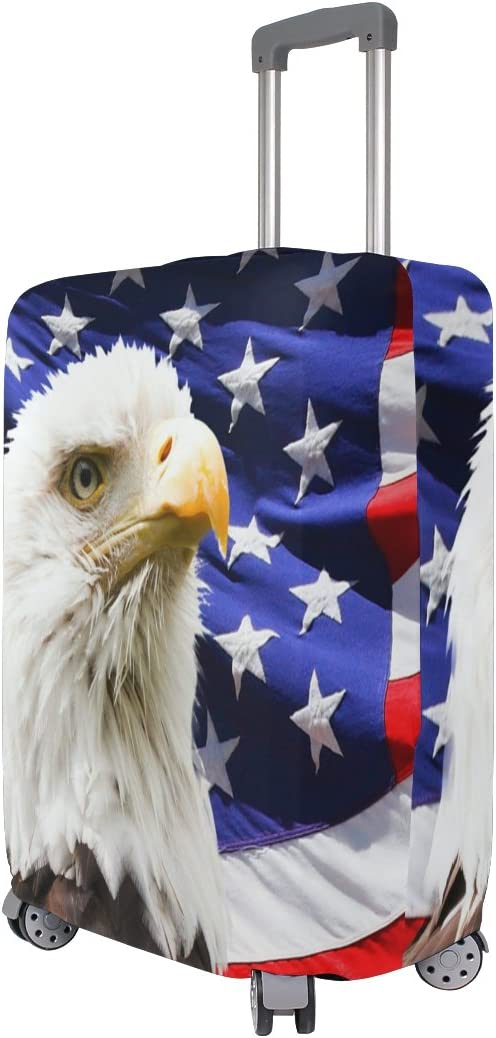 Luggage Protective Covers with Bald Eagle And American Flag Washable Travel Luggage Cover 18-32 Inch