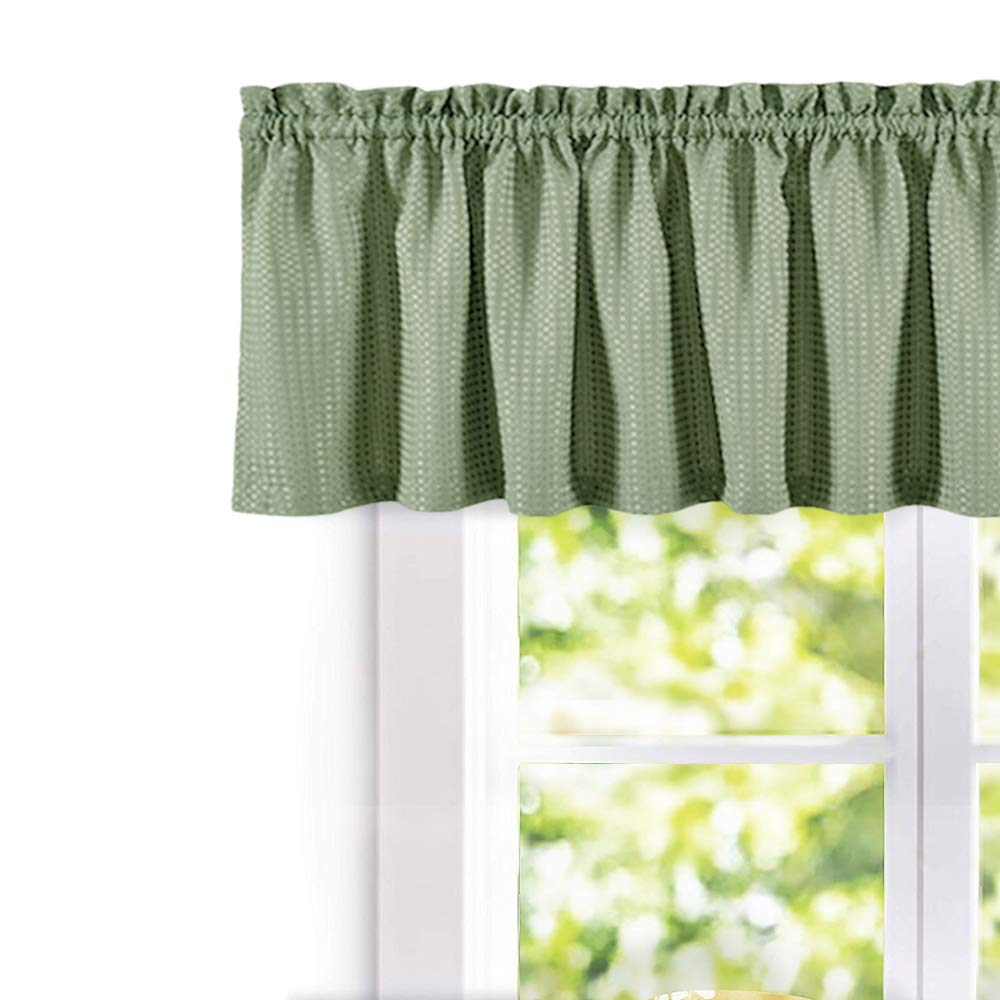 Waffle-Weave Textured Valance for Kitchen Water-Proof Window Curtains (60-inch x 18-inch, Sage, One Panel)