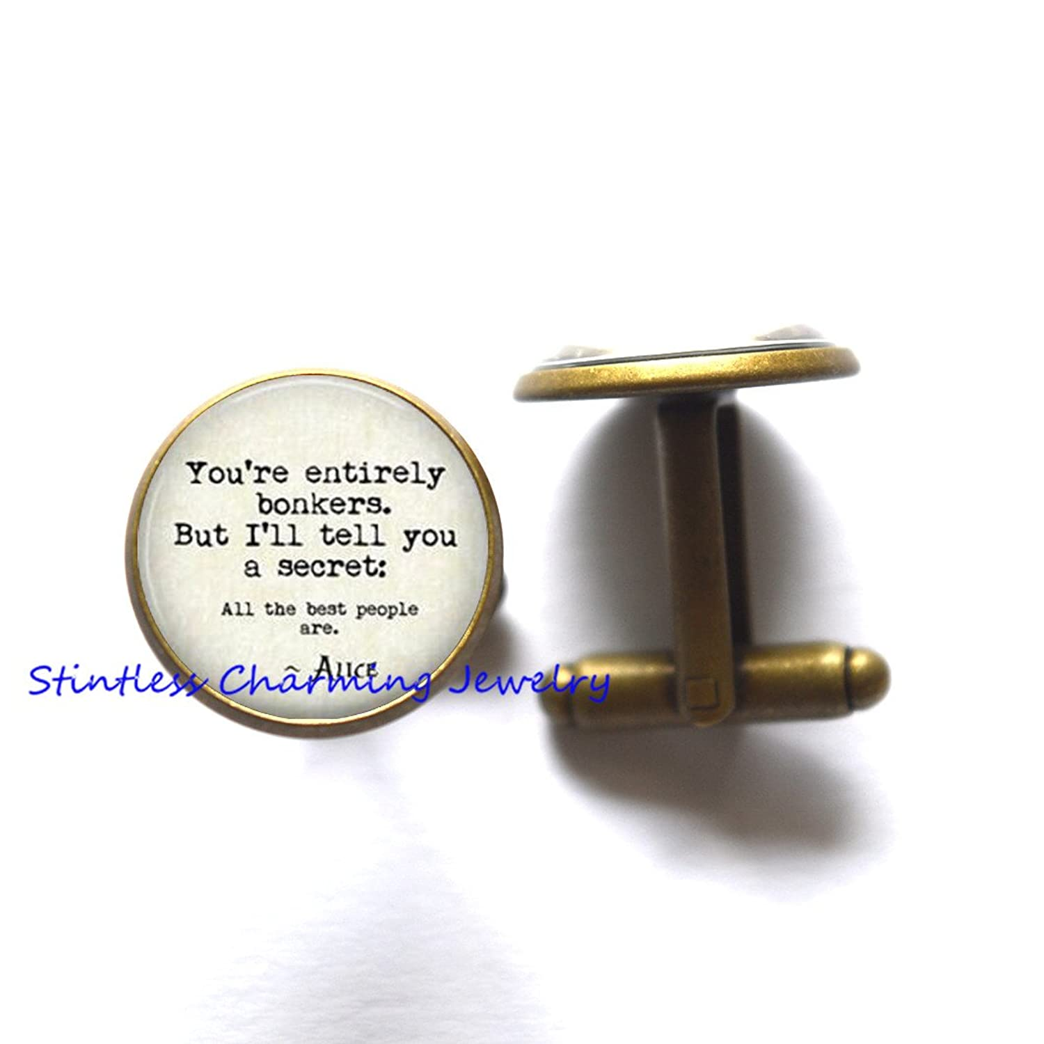 You're Entirely Bonkers Cufflinks,Quote Jewelry,book quote,quote jewelry,handmade jewelry Cufflinks, book quotes Cufflinks