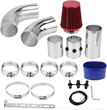 Aluminum Alloy Intake Pipe Kit Cold Air Filter Injection System Universal Car Cold Air Intake Induction Filter Pipe Hose High Flow Kit Car Intake Pipe