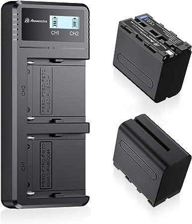 Image ofNP-F970, NP-F960, NP-F930, NP-F950, Powerextra 2 Pack 8800mAh Sony Cámara Batería de Repuesto para Sony DCR-VX2100, DSR-PD150 y Más Cámara 2 x Batteries+ LCD Dual USB Charger