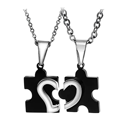 2427dee19726 1 par de Patrones de diseño del corazón Pareja Collares Forma de  Rompecabezas Colgante de San Valentín Regalo de día para los Amantes   Amazon.com.mx  Hogar ...