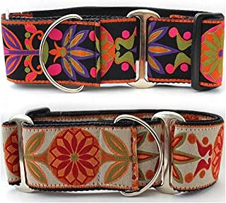 "product image for Diva-Dog 'Venice' Ink or Ivory 2"" Extra Wide Martingale Dog Collar"