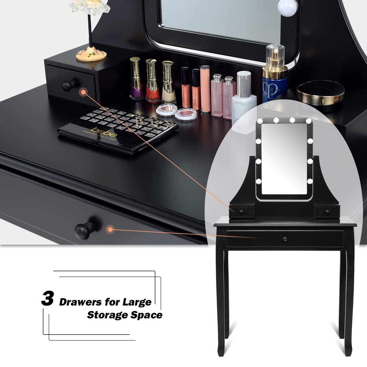 3 Drawers 2 Dividers CHARMAID Vanity Set with Lighted Mirror Makeup Dressing Table with 10 LED Dimmable Bulbs Black Touch Switch Modern Bedroom Makeup Table with Cushioned Stool for Women Girls