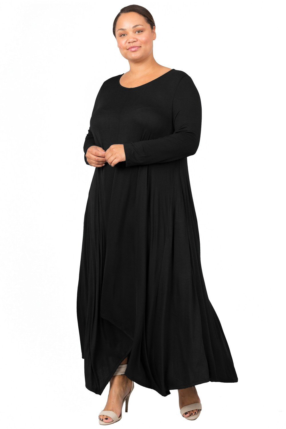 Love In D6190C-PX Long Sleeve Round Neck Flared Maxi Dress W/Pocket Black 1X