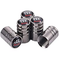 TK-KLZ 5Pcs Chrome Car Tire Valve Stem Caps for Audi S Line S3 S4 S5 S6 S7 S8 A1 A3 RS3 A4 A5 A6 A7 RS7 A8 Q3 Q5 Q7 R8 TT Car Styling Decoration Accessories