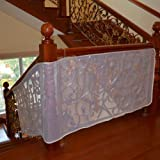 Anyumocz 10Ft Child Safety Rail Net for INDOOR & OUTDOOR Usage-Banister Stair Net – Child Safety; Pet Safety; Toy Safety; Stairs Protector(White)