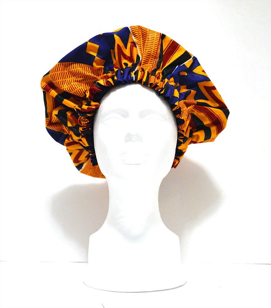 Ankara Satin Bonnet-Premium, Large Satin Sleep Bonnet Cap, Double Layered, Reversible, Multi Color.