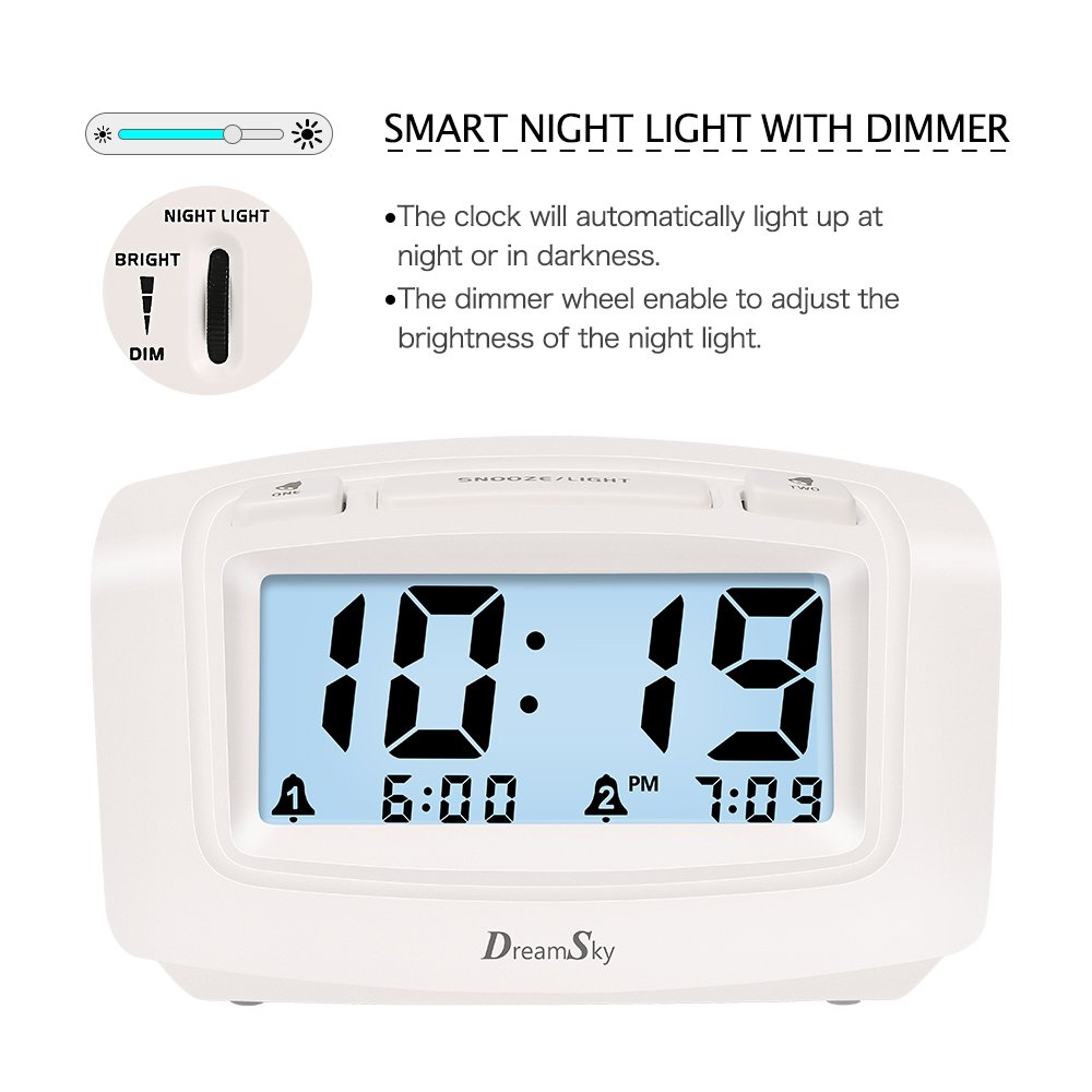 DreamSky Dual Alarm Clock with Smart Adjustable Nightlight, Snooze, Large LCD Display, Portable Battery Operated, Ascending Alarms Sound, Simple Operate Clock for Bedroom Kids by DreamSky (Image #3)