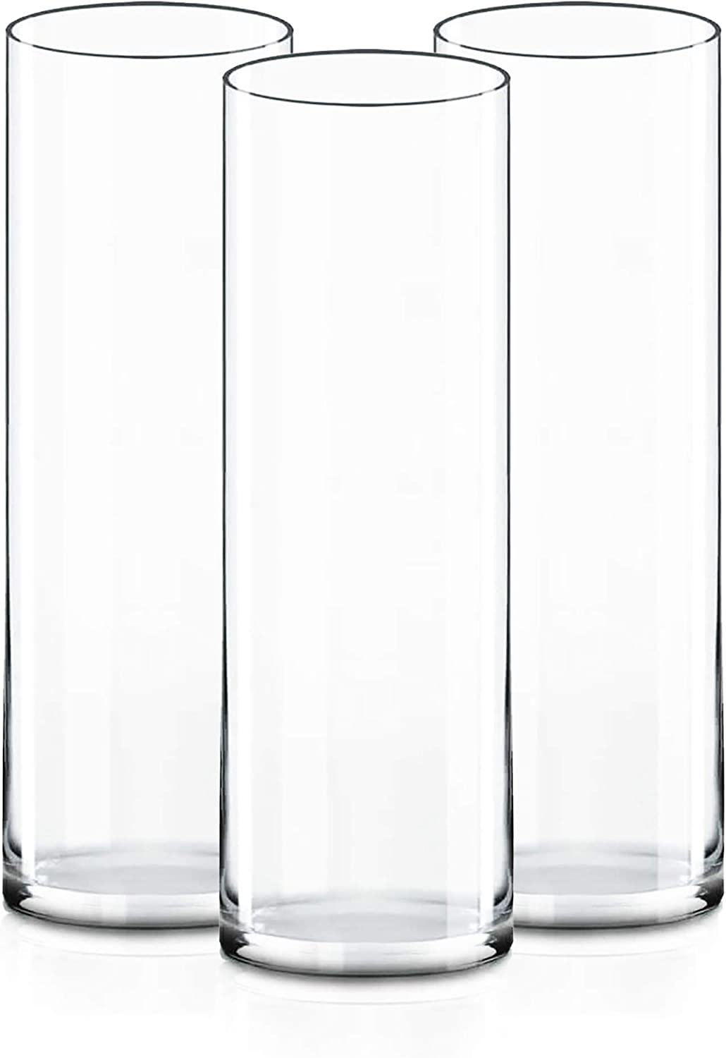 """CYS Excel Clear Glass Cylinder Vase (H:14"""" D:4"""")(Pack of 3)   Multiple Size Choices Glass Flower Vase Centerpieces   Hurricane Floating Candle Holder Vase"""