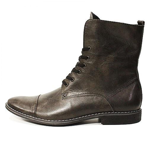 Modello Ermanno - Cuero Italiano Hecho A Mano Hombre Piel Gris Botas Altas - Cuero Cuero Suave - Encaje: Amazon.es: Zapatos y complementos