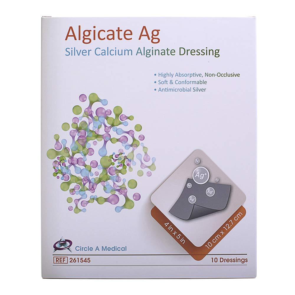 Algicate Ag Silver Calcium Alginate Wound Dressing Sterile, 4'' x 5'' (Box of 10) by Alginate Ag