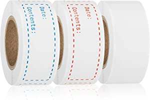 600 Pieces Removable Freezer Labels, 1 x 3 Inch Food Storage Stickers, Refrigerator Food Date Labels Adhesive Paper Labels, 3 Styles Food Labels Roll