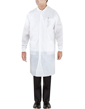 705253605c4 Lab Coats, White, knit cuffs, fluid resistant, disposable, 3 pockets,
