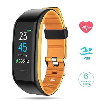 Pulsera Actividad con Podómetros GOKOO Smartwatch Pulsera Inteligente con Pulsómetro Reloj Inteligente Fitness Tracker Impermeable IP68 Pulsera para ...