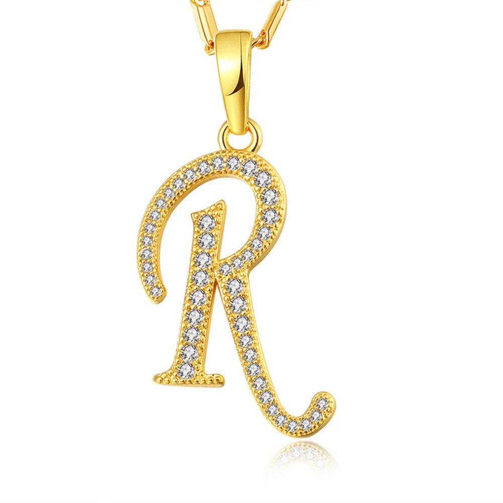 WELRDFG CZ Platinum Plated R Initial Letter Pendant Necklace Alphabet Zirconia Necklace WELRDFG Jewelry P1023