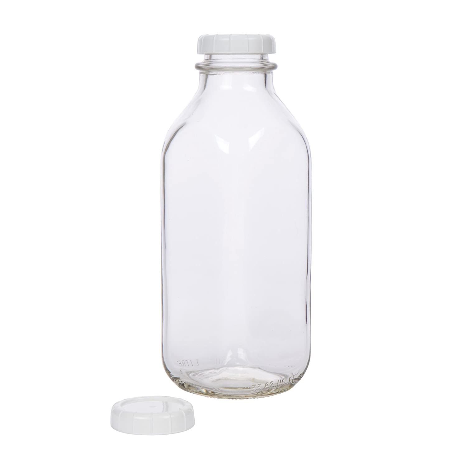 Glass Milk Bottle - USA Made 33.8 oz Jug with Extra Lid MB-33-1
