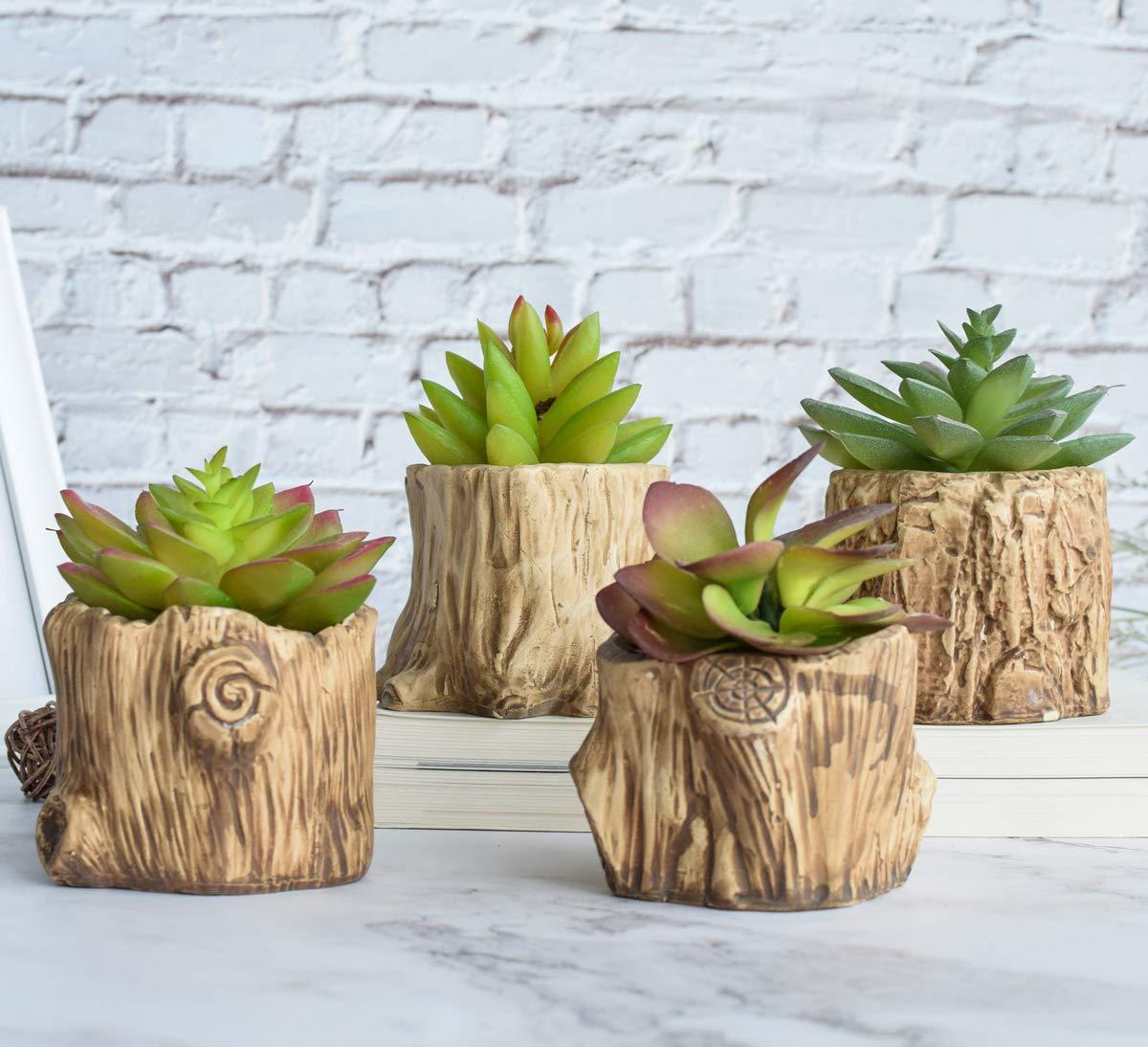 Set of 4 Ceramic Wooden Pattern Succulent Plant Pot with a Drainage Cactus Plant Pot Flower Pot Container Planter Bonsai Pots Tabletop Decor