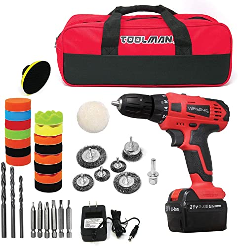 Toolman Lithium Drill with 1pc Battery, drills sets and 1pc 2hour quick charger, polish pads and wire brushes, 1pc tool bag ZTP008A