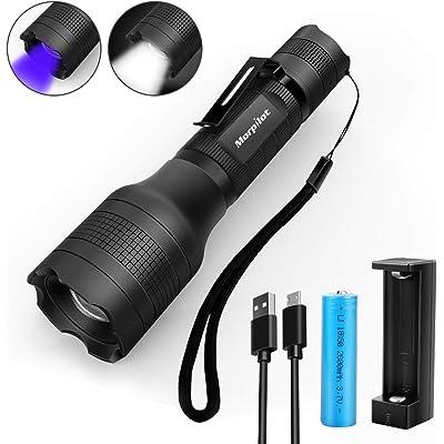 Linterna recargable Morpilot 2 EN 1 UV y LED Linterna Táctica con clip de bolsillo, 500 lúmenes y 4 modos de luz Linterna Zoom OUT/IN Impermeable IPX 4 (batería y cargador incluidos)