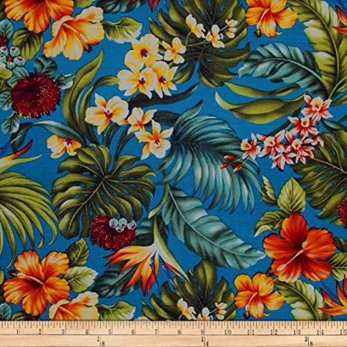 120 Mokauea Street Trans-Pacific Textiles Hawaiian Rainforest Barkcloth Fabric by the Yard, Teal