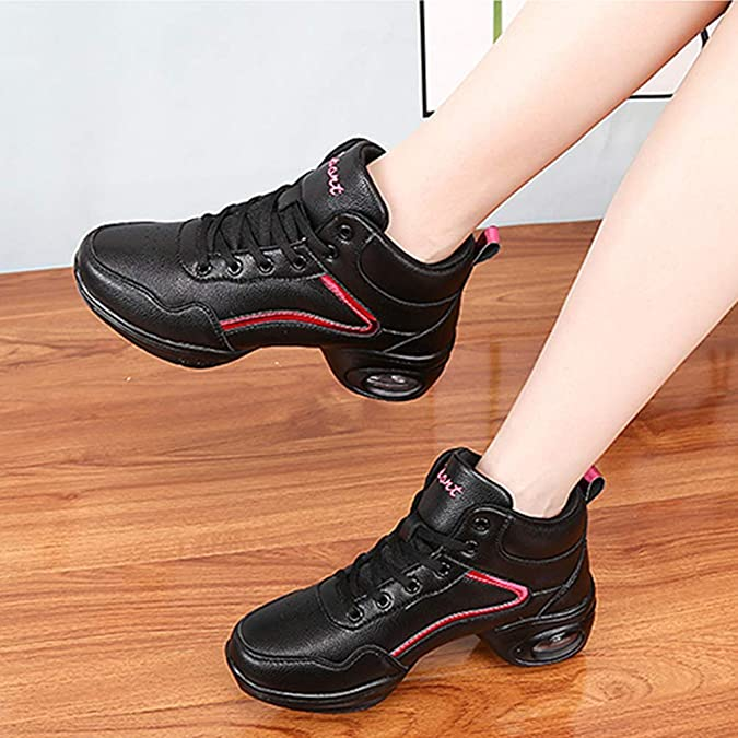 Daytwork Jazz Dance Shoes Women Fashion Black Mesh Practice Shoe Lace up Sneakers Outdoor Slip Resistant Trainers Ballroom Teaching Sports