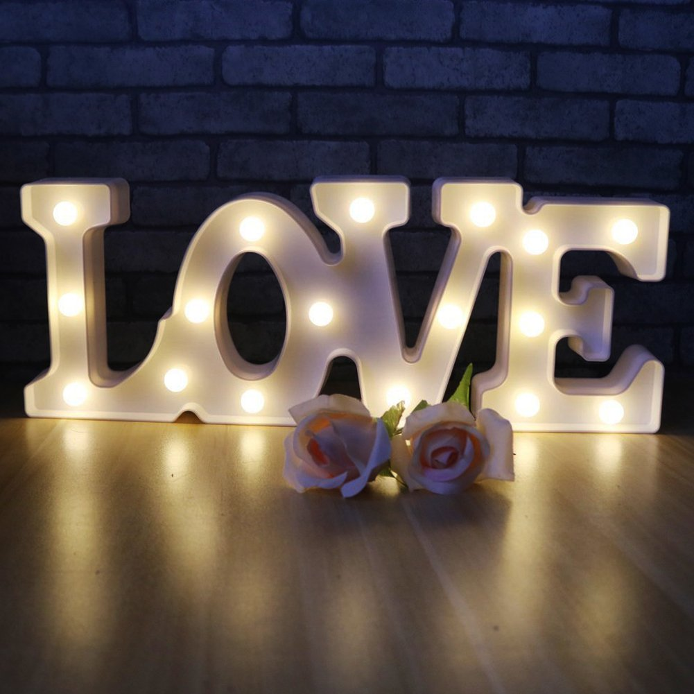 LED Letters Light LOVE Night Lights - Romantic LED Marquee Sign Wall Lights For Home Decor Battery Operated & USB Powered for Living Room,Bedroom,Party,Christmas Wedding Birthday Gift