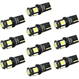 VANSSI 501 W5W LED Bulbs White T10 5-SMD 5050 High Power 168 194 2825 LED Car Interior,Number Plate,Boot Light Bulbs,1 Year Warranty(Pack of 10)