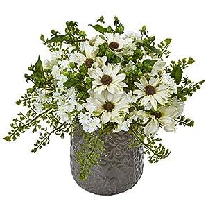 Nearly Natural Daisy Bush Silk Arrangement in Vase White 70