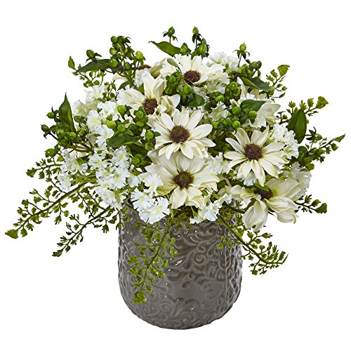 Nearly Natural Daisy Bush Silk Arrangement in Vase, White