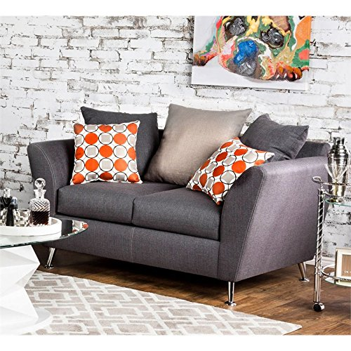 Furniture of America Jamie Fabric Loveseat in Gray