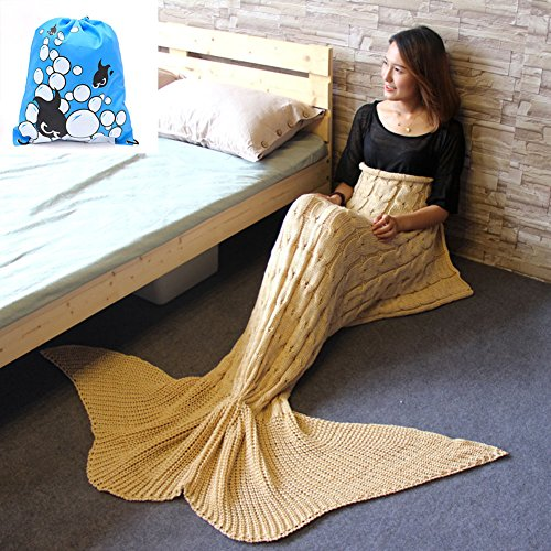 CZL Christmas Gift Knitted Mermaid Tail Blankets for Adults Teens Sleeping Bags Crochet Blanket Super Soft Sleeping Blankets (71