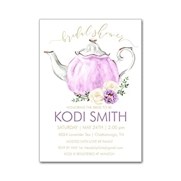 984b4907f74 Amazon.com   Set of 12 Personalized Bridal Wedding Shower Invitations and  Envelopes with Tea Party Teapot in Lavender with Flowers NVB8024   Baby