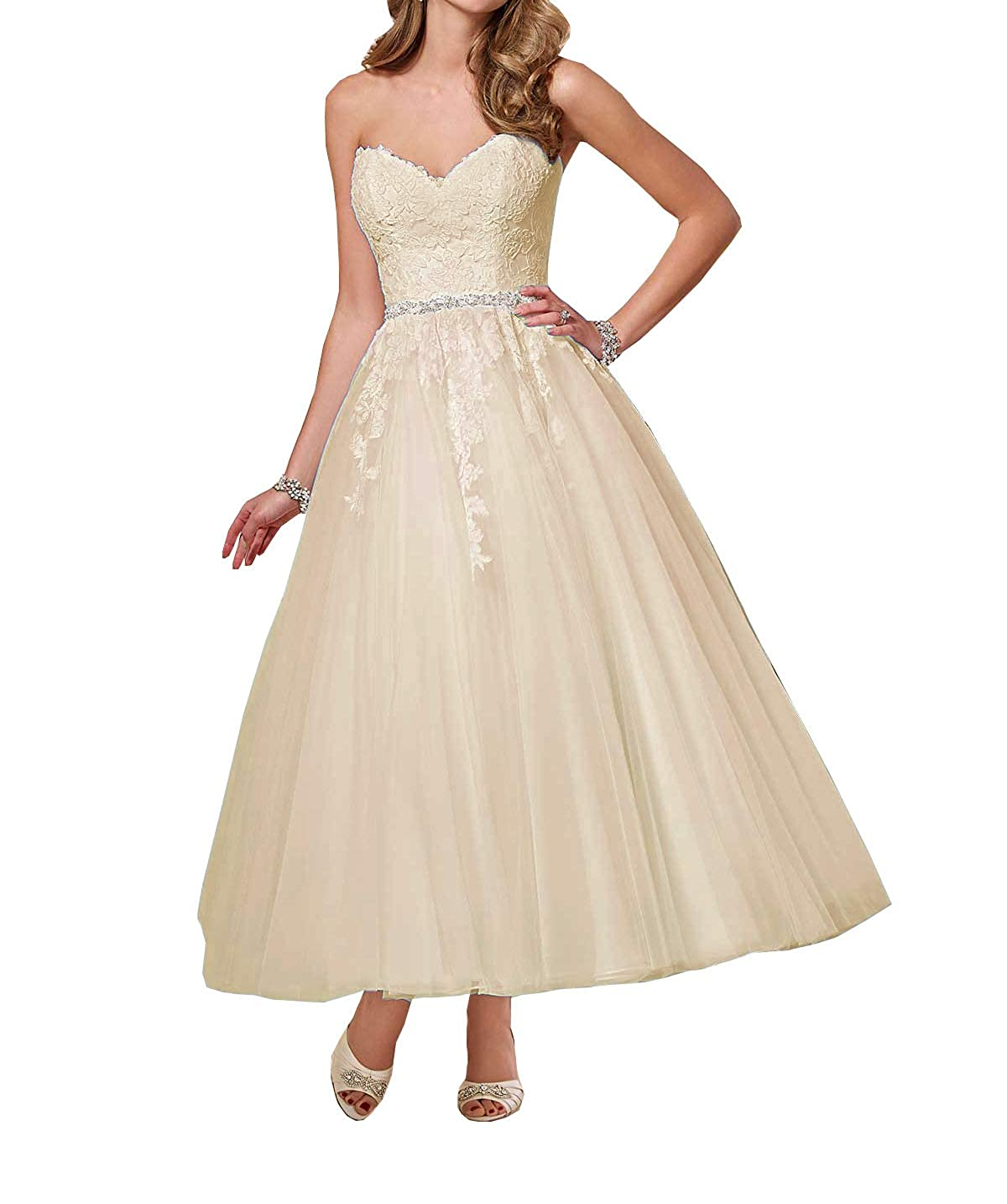 Womens Tea Length Ball Gowns Wedding Dresses Sweetheart Lace Bodice