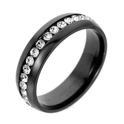 Amazon.com: Anillo unisex de acero inoxidable con cristales ...