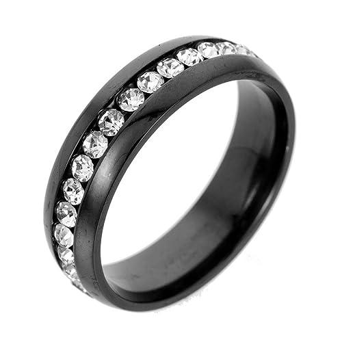 Amazon.com: Anillo unisex de acero inoxidable con cristales ...