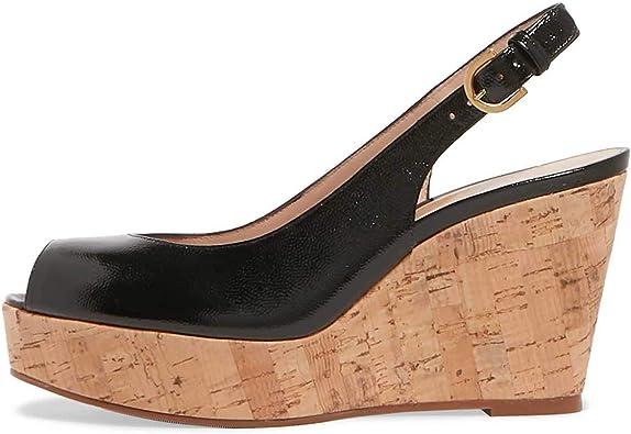 FSJ Women Peep Toe High Heel Wedge